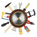 Tools collage of in front of white background Royalty Free Stock Image