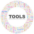 Tools concept illustration graphic tag collection wordcloud collage Royalty Free Stock Image