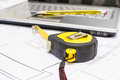 Tools for construction drawings background Stock Photography