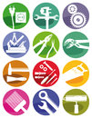 Tools and crafts symbols a set of colorful construction Stock Photography