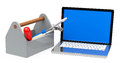 The tools d generated picture of a toolbox and a laptop Royalty Free Stock Image