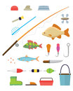 Tools for fishing icons set on white background vector illustration