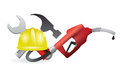 Tools with a gas pump nozzle illustration design over white background Stock Photos