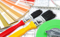 Tools for home renovation on architectural drawing Royalty Free Stock Photography