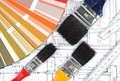 Tools for home renovation on architectural drawing Royalty Free Stock Photos