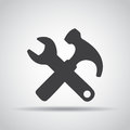 Tools icon with shadow on a gray background. Vector illustration