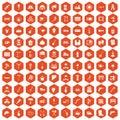 100 tools icons hexagon orange