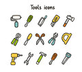 Tools icons set of items Royalty Free Stock Photos