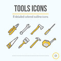 Tools Icons Set (Pliers, Wrench, Axe, Screwdriver, Saw, Brush, Hammer, Tape Measure). Royalty Free Stock Photo