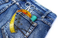 Tools in jeans pocket Royalty Free Stock Images