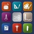 Tools learning icon vector set Stock Image