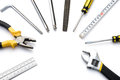 Tools lined up as a circle Stock Photography