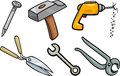Tools objects cartoon illustration set of clip art Stock Photo
