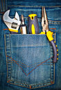 Tools on a pants pocket Royalty Free Stock Photo