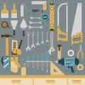 Tools on peg board