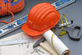 Tools about safety constructions work Stock Photography