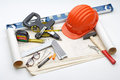 Tools about safety constructions work Royalty Free Stock Image