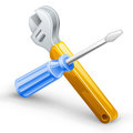 Tools: screwdriver, spanner. Royalty Free Stock Photography