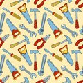Tools seamless color pattern cartoon background Stock Images