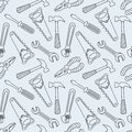 Tools seamless line pattern cartoon background Stock Photography