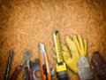 Tools set of over a wood panel Royalty Free Stock Photo