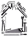 Tools in shape of house illustration different on white background with copy space Stock Photos