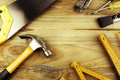 Tools a variety of on wood advertising space Royalty Free Stock Images