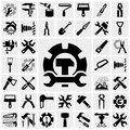 Tools vector icons set on gray grey background eps file available Stock Image