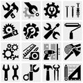 Tools vector icons set on gray grey background eps file available Stock Photos