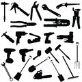 Tools vector silhouette illustration on white background Royalty Free Stock Photography