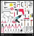 Tools vector silhouettes collection handtool types Stock Images