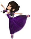 Toon ballerina in purple romantic style tutu cute wearing a with a long skirt the ballet d digitally rendered illustration Royalty Free Stock Photography