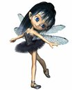Toon dragonfly ballerina fairy blue cute with wings wearing a tutu d digitally rendered illustration Royalty Free Stock Images