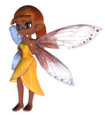 Toon fairy in yellow dress cartoon with pink wings Stock Photos