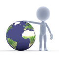 Toon guy and the earth. Royalty Free Stock Photography