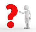 Toon man pointing at red big question mark. FAQ, ask, search concepts Royalty Free Stock Photo