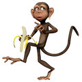 Toon monkey with a banana d render of Royalty Free Stock Photo