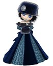 Toon winter princess in blue pretty dark haired wearing a dress and furs d digitally rendered illustration Royalty Free Stock Images