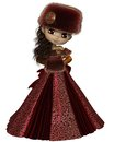 Toon winter princess in red pretty dark haired wearing a dress and furs d digitally rendered illustration Royalty Free Stock Photo