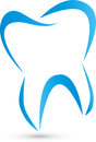 Tooth in blue, colored, tooth and dentist logo
