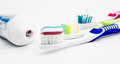 Tooth brush with tooth paste Royalty Free Stock Photo