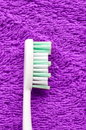 Tooth brush vertical shot of mint on purple textile Royalty Free Stock Photography