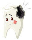 Tooth decay with sad face Royalty Free Stock Photo