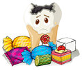 Tooth decay and sweet candy Royalty Free Stock Photo