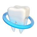 Tooth encircled with a ring blue circle as protection isolated over the white background Royalty Free Stock Photo