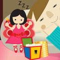 Tooth fairy illustration of a cute little flying with Royalty Free Stock Photography