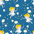 Tooth fairy seamless vector pattern. Cute fairies with wand on blue background with teeth, toothbrush, stars and clouds