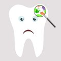 Tooth germs and bacteria a clip art cartoon illustration of under a