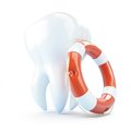 Tooth help life buoy on a white background Stock Photos