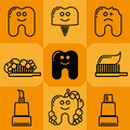 Tooth icon set teeth paste and brush drawing Royalty Free Stock Image